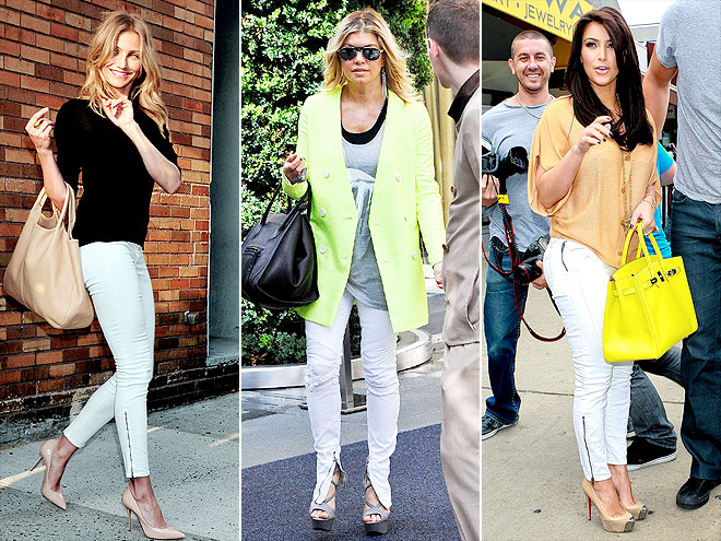 WHITE ANKLE-ZIP JEANS   DinaMohamadK